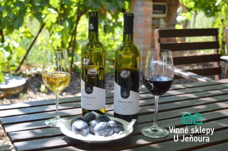 Sklenice vína, víno od Jeňoura, léto, Nechory, Vinné sklepy u Jeňoura.